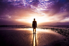 Another Place - Rusty Sunset (Andrew Brammall Photography) Tags: approved antony gormley another place statue corby beach sunset tide mersey liverpool reflections ironman iron