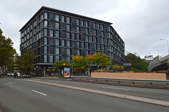 """Large apartment block in Pyrmont  (Sydney NSW Australia)  beside the """"Light Rail"""" station (tram) (nicephotog) Tags: pyrmont nsw building commercial apartment block street"""