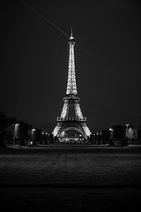 Alone with the tower (BrianEden) Tags: x100s france travel blackandwhite paris eiffeltower champdemars travelphotography fuji toureiffel brianedenphotography bw destination fujifilm 7emearrondissement îledefrance fr