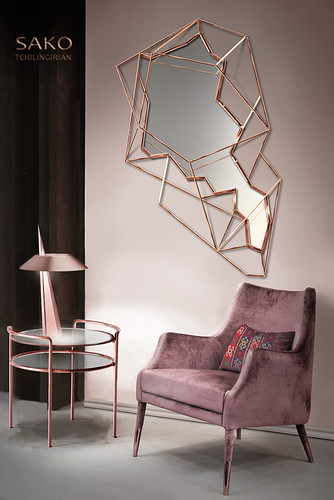 Armenia's map mirror wire frame sculpture ,Genocide table lamp and side table