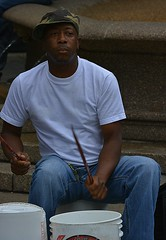Bucket Drummer (swong95765) Tags: guy man drummer musician buckets drumming tips entertainer
