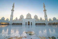 United Arab Emirates - Front of Sheikh Zayed Mosque courtyard in Abu Dhabi (Remsberg Photos) Tags: middleeast abudhabi architecture gold decorative beauty tranquil exotic mighty mosque grandmosque worship sheikhzayedmosque art intricate sunlight pattern detailed tradition bright warm arches sunset floral arabic arabian persiangulf emirate unitedarabemirates islam prayer muslim allah islamic religion uae