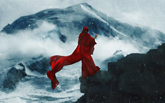 """""""The Man on the Mountain"""" (Kavan The Kid) Tags: kavan kid photoforge art photoshop photography composition abstract fineart self portrait strange surreal surrealism surrealistic weird 365project eerie eccentric photograph pain red cloak dark beauty death reaper tutorial howto diy"""