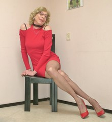 Sitting on my chair. (sabine57) Tags: crossdressing transvestism crossdress crossdresser tgirl tranny transgender transvestite tv travestie drag cd pumps highheels nylons stockings reddress