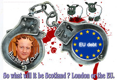 """EU HANDCUFFS isnt independence. """"The N.W.O is the EU!"""" (dddoc1965) Tags: world new david london scotland graphics europe order photographer sheep graphic or politics nwo eu it crime will be what pm independence paisley anti handcuffs bail banker outs davidcameron voteyes camerom isnt noeu dddoc"""