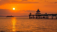 Clevedon Pier / cruise liner MV Boudicca (technodean2000) Tags: uk cruise sunset sea england sky orange water yellow bristol pier nikon channel mv liner lightroom boudicca clevdon d5200