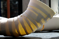 Traces (Isolde Clynes) Tags: light red sculpture art stain thread yellow ceramic photography movement glow purple arm body empty leg tie craft wrap plaster line wear crack clothes growth negative fabric laundry fray memory translucent layers ripples fold transparent tight shape sleeve hang porcelain loose ridges bulge distort fragment restrain enclose restrict