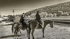 0246793-61-Robbing the Train from Williams Arizona-2-Black and White (Jim Beatniks are out to make it rich) Tags: travel arizona people blackandwhite horse men tourism beautiful animal america train landscape cowboy tour desert american bandits horsebackriding besttravel ilobsterit