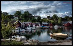 Homborsund (Øyvind Bjerkholt (Thanks for 60 million+ views)) Tags: summer sky water beautiful norway canon landscape boats eos norge hdr skyer sheds sørlandet homborsund photomatix 600d austagder cs6