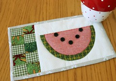 Country Watermelon Mug Rug (The Patchsmith) Tags: summer pattern buttons country watermelon gingham patchwork applique mugrug patchsmith