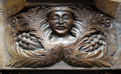 A 16th C. Green Man misericord (rather primitive and unusual--the head wreathed and somewhat isolated from the foliage), the Collegiate Church of Notre-Dame (Collgiale Notre-Dame), Le Puy-Notre-Dame, Anjou, France (Hunky Punk) Tags: wood france choir woodwork gothic churches carving medieval notredame middleages stalls collegiate greenman misericord anjou mercyseat quire hunkypunk lepuynotredame spencermeans
