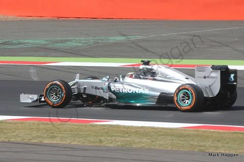 Lewis Hamilton in his Mercedes during Free Practice 1 at the 2014 British Grand Prix
