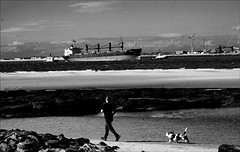 running with the hound ! (Raymond Paul - SP) Tags: people blackandwhite bw man beach dogs liverpooldocks mono seaside candid streetphotography wirral newbrighton merseyside rivermersey thisisengland lifeinblackandwhite documentryphotography citybythesea raymondpaul fujixcamera fujixe2 runningwiththehound