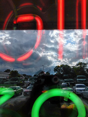 Neon sign • window reflection (SteveMather) Tags: red sky reflection green window shop clouds store neon shot pizza signage takeout togo 4s iphone carryout 2014