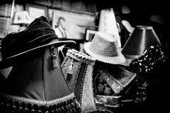 Frank's Place And His Artistic Mess. (Mroovac) Tags: blackandwhite bw stilllife lamp hat newjersey mess collingwood nj fleamarket 2014 njshore artisticmess canon6d zeissmakroplanar50mmf2ze paulzwolinski