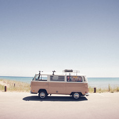 'The VW Bus', United States, Wisconsin, Point Beach State Park (WanderingtheWorld (www.ChrisFord.com)) Tags: road park travel summer vacation lake bus beach water car mobile wisconsin vw vintage volkswagen point landscape midwest state michigan exploring parking horizon lot roadtrip adventur