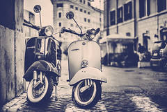 Italian Transport (Jamie Frith) Tags: blackandwhite italy rome 50mm italian nikon vespa wasp motorbike d800