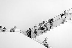 upstairs - downstairs (Sabinche) Tags: people bw woman museum germany children frankfurt stairway sabinche hesse kunsthalle schirn canoneos5dmarkii ef40mmf28stm