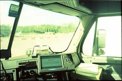 view from the office (Beaulawrence) Tags: camera summer ontario canada color colour slr film window analog truck vintage lens reflex lomo xpro lomography driving fuji cross pentax k1000 28mm shift slide semi single job fujichrome processed occupation 2014 trackter fd50