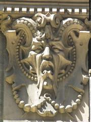 Green Man Horned Bat Face Gargoyle 6138 (Brechtbug) Tags: above street new york city nyc portrait sculpture brown man buildin