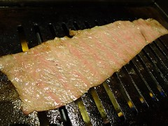 Thin Sliced Wagyu Beef Bottom @tokujyu, Shimbashi, Tokyo (Phreddie) Tags: trip japan dinner happy japanese restaurant tokyo yum beef bbq delicious eat korean marble biz shimbashi yakiniku wagyu 140828東京出張