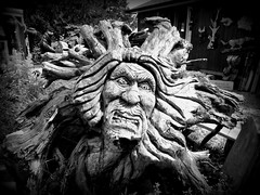 Angry Man (Toats Master) Tags: wood man chainsaw carving