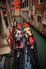 The gondolas at Venice, Italy (zy80 toys&travel) Tags: travel venice italy gondola waterway