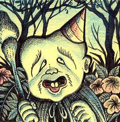 Birthday Konaki Jijii (Tom Bagley) Tags: birthday calgary japan illustration ink weird cartoon postit folklore eerie creepy spooky fanart fantasy alberta pulp ooky tombagley yokai brushwork gegegenokitaro shigerumizuki plantdrawing  konakijijii oldmancrybaby
