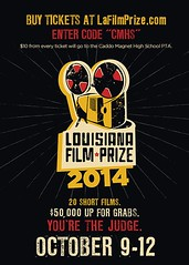 """Caddo Parish Magnet High School, Caddo Magnet High Alumni & Friends, Caddo Magnet HS PTSA, are you buying tickets to the Louisiana Film Prize? Then, PUT IN CODE """"CMHS"""" at www.LaFilmPrize.com and the PTSA gets $10 from every ticket. VIVA MAGNET HIGH!"""