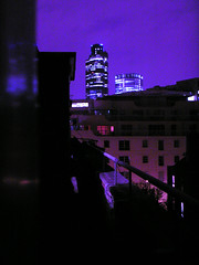 Purple view (Gary Kinsman) Tags: city skyline night view purple grain 2006 e1 spitalfields tower42 cityoflondon councilestate 99bishopsgate socialhousing toynbeestreet cityfringe brunehouse hollandestate