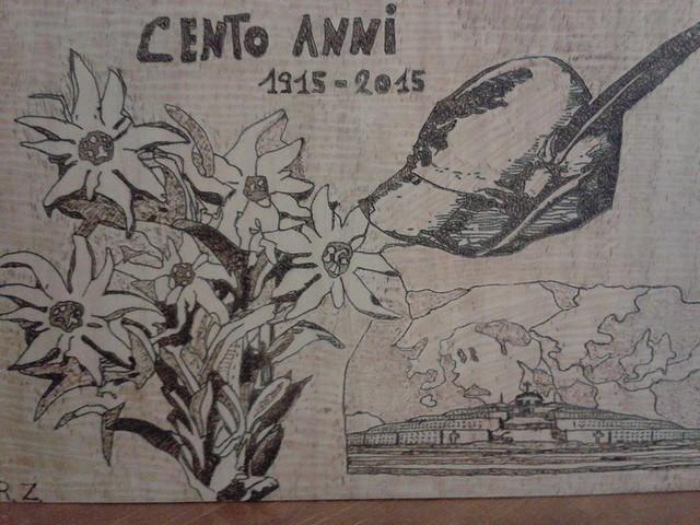 Centenario Grande Guerra, disegno con pirografo dedicato da Roby Zanella al Centenario