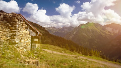 Gone (HausHimmelreich) Tags: summer sky mountain beautiful weather clouds barn landscape nikon day cloudy hiking sommer htte himmel wideangle berge hut alpine landschaft wandern partly d800 scheune weitwinkel kleinwalsertal blumenundpflanzen