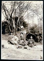 Vintage Japanese Picnic (Vintage Japan-esque) Tags: old trees woman man japan vintage japanese asia picnic child kimono foundphotograph prewwii