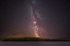 Milky Way over Moore Reservoir (Dave Trono) Tags: longexposure nightphotography fall canon stars newengland newhampshire wideangle nh astronomy milkyway 2014 mooredam rokinon canoneos6d moorereservoir rokinon14mmf28superwideangle davetrono