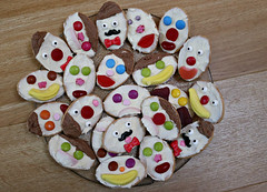 2017 Sydney: Face Biscuits (dominotic) Tags: 2017 food sydney australia facebiscuits sweets lolly candy biscuit cookie smarties jellybeans bananas muskstick lollyteeth macrodesserts