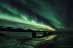 Cross the bridge (Friðþjófur M.) Tags: auroraborealis northernlights norðurljós nordlicht norðvesturland héraðsvötn skagafjörður stars clouds nightphotography night outdoor bridge friðþjófurm iceland ísland iso1600f28 mountains mountain winter ís ice