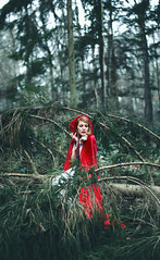 Alone with firs. (Camille Chavaudra ~) Tags: little red riding hood petite chaperon rouge cape forest forêt tree trees arbres arbre firs sapins women femme portrait nature natural light outdoor photoshop france amiens