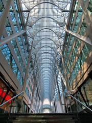 Allen Lambert Galleria, Toronto, Ontario (duaneschermerhorn) Tags: architecture mall galleria interior arches parabolic building allenlambertgalleria santiagocalatrava calatrava santiago beams supports complex blue