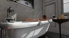 Unwinding... (Kallisti Burns (Discord Designs)) Tags: secondlife sl 3d virtual bath bathing victorian plumbing internal bathroom shadows lighting