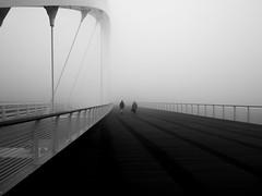 Untitled (Cava AL) Tags: 2016 alessandria bw bn humans panasonic riccardocavallaro street streetphotography bridge fog nebbia ponte