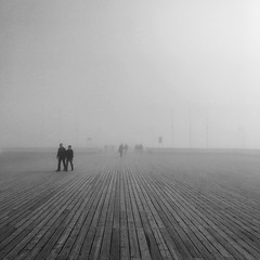 Sea Mist (whitehart1882) Tags: weather fog mist people pier seaside travel photography walking straight lines holiday vacation light