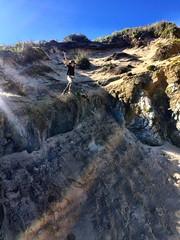 Jumping. Stephens Beach. South West Tasmania.