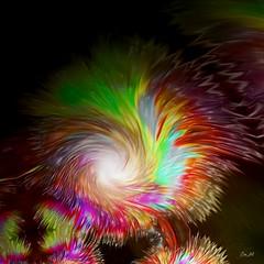 Irradiance (Emmanuelle Baudry - Em'Art) Tags: art artwork abstract artnumérique abstrait digitalart couleur colour colourful dark sombre nuit night lumière light process manipulated rêve rainbow dream arcenciel explosion naissance birth emmanuellebaudry emart espace space cosmos univers universe nebulae