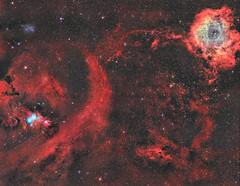 Cone to Rosette Nebula Mosaic (Chuck Manges) Tags: optolong qhy ccd celestron edgehd rosette cone nebula mosaic astronomy astrophotography astrometrydotnet:id=nova2012010 astrometrydotnet:status=solved monoceres