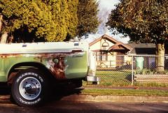 North Portland (Button2PushButtons) Tags: 35mm color positive slide film e6 provia fujichrome nikon f100 portlandor parkedinportland morninautos