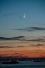 Moon over English Bay (Michael Kalus) Tags: canada june vancouver bc kitlens englishbay 2014 canonrebelt5i