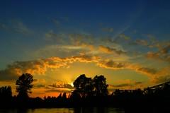 Skagit Valley Sunset 9 (Aneonrib) Tags: bridge light sunset cloud sun clouds river landscape evening washington downtown state scenic scene ring mount valley sound wa skagit ladder westside jacobs vernon breaks puget sunbeams crepuscular