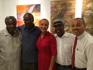 Artists Robert McKnight with his brother Donald, gallery manager Julia Polonyi WDNA Jazz radio DJs Michael Valentine and Howard Duperly at Kroma gallery in the Grove