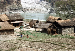 21-621 (ndpa / s. lundeen, archivist) Tags: nepal people color building film water field rural 35mm buildings river 21 farm nick nepalese 1970s 1972 himalayas nepali dwellings dwelling dewolf localpeople nickdewolf photographbynickdewolf ruralnepal reel21 hillyregion