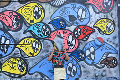 I had a flashback of something that never existed (LaSandra.) Tags: blue red streetart newyork color colors girl face yellow brooklyn graffiti poser no hipster streetphotography pop williamsburg noface sayno 6avenue nikon7100